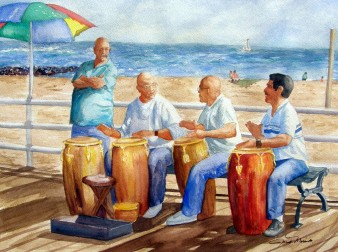 Beach Music watercolor, 18x24