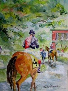 Belmont Paddock, watercolor, 12x16