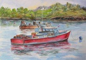 Fishing, watercolor 16x20