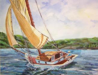 Golden Sails, watercolor 16x20