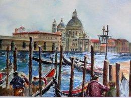 Gondolas, watercolor 16x20
