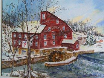Snowy Mill, watercolor 16x20