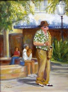 Street Musician, Oil, 16X20